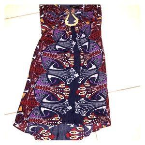 SKY mesh street tribal pattern dress tropical M